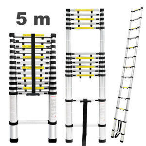 New 16 4ft Aluminum Telescopic Telescoping Loft Extension Multi purpose Ladder