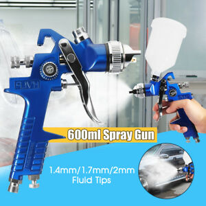 Hvlp Gravity Feed Spray Gun Car Vehicle Paint 1 4mm 1 7mm 2mm Nozzle 600cc Cup