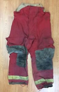 Vintage Firefighter Red Bunker Turnout Pants 36 X 28 1991 Globe