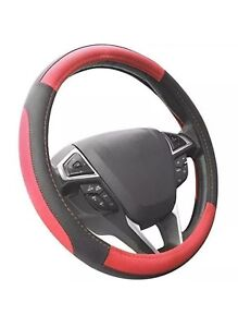 Seg Direct Black And Red Microfiber Leather Auto Car Steering Wheel Cover