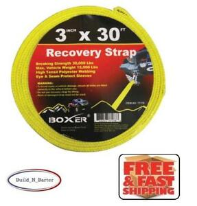 Boxer 77178 3 X 30 Recovery Tow Strap 30 000 Lb Capacity Loop Ends