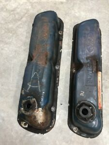 78 Torino Ranchero 302 351 Windsor Valve Covers Pair Powered By Ford Pcv Oil Cap