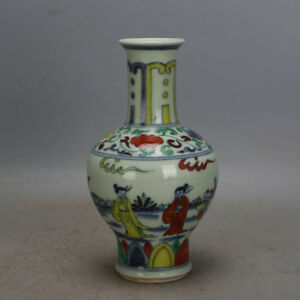 7 China Antique Porcelain Ming Chenghua Doucai Hand Painting Character Vase
