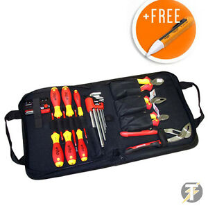 Wiha 38528 Electricians 12pc Vde Tool Kit screwdrivers pliers cutters voltstick