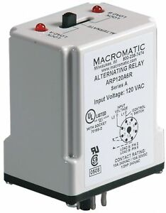 Macromatic Alternating Relay 10 Amps 120vac 8 Pins Spdt Arp120a6r