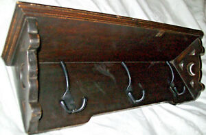 Antique Hanging Coat Rack Hall Tree Shelf W 3 Hooks Plate Groove Vintage Good