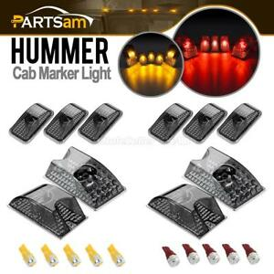 10pc Smoke Roof Clearance Top Lights W red amber 5730 Led Bulbs For 03 09 Hummer