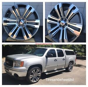 22 Inch Gmc Wheels Tires Chevy Grey Silverado Yukon Denali Suburban Tahoe New