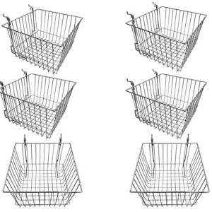 Set Of 6 Pcs Chrome Metal Wire Slatwall Gridwall Pegboard Deep Basket Rack