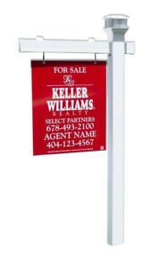 Nymeria Real Estate Sign Post W Stake Solar Led Light Cap 6 Feet With 36 Arm
