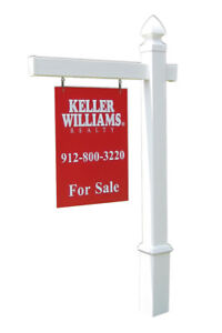Essex Real Estate Yard Sign Post And Stake White Vinyl 5 Feet With 36 Arm