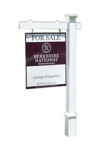 Lannister Real Estate Yard Sign Post And Stake White Vinyl 6 Feet With 36 Arm