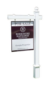 Hampton Real Estate Yard Sign Post And Stake White Vinyl 6 Feet With 36 Arm
