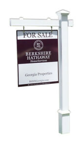 Lyanna Real Estate Yard Sign Post And Stake White Vinyl 6 Feet With 47 Arm