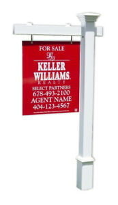 Savannah Real Estate Yard Sign Post And Stake White Vinyl 5 Feet With 36 Arm