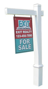 Bridgeport Real Estate Yard Sign Post And Stake White Vinyl 5 Feet With 36 Arm