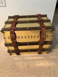 Vintage Breuners Brass Trunk W Leather Straps Wooden Slats Originally 500