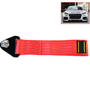 Car Sports Red High Strength Racing Tow Strap For Front Rear Bumper Towing Hook
