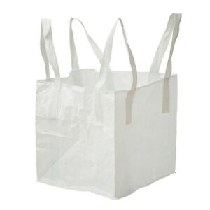 1 Tonne Strong Fibc Bulk Bag Builders Bag Sack Flat Bottom Pp 90x90x110cm