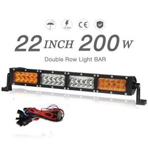 22inch Led Light Bar Amber White 200w Automotive Off road Driving Fog Cree Truck