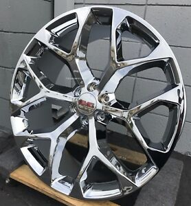 22 Gmc Sierra Snowflake Chrome Wheels 33 Mt Tires Yukon Denali Silverado