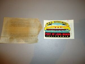 Vintage Lindgren Turner Travel Decal Rms Queen Mary Long Beach Cal W Pkg