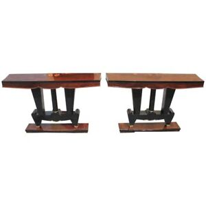 Classic Pair Of French Art Deco Macassar Ebony Console Tables Circa 1940s