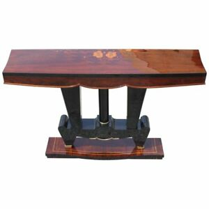 Classic French Art Deco Exotic Macassar Ebony Console Tables Circa 1940s