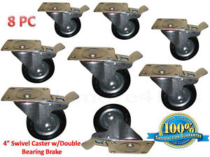 Caster Wheels 4 Swivel Caster W double Bearing Brake 8 Pcs
