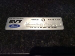 Ford Svt Shelby Gt500 Valve Cover Builder Tag
