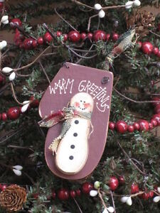 Warm Greetings Snowman Mitten Christmas Ornament
