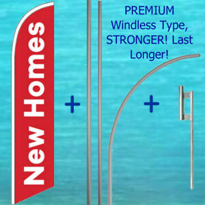 New Homes Windless Banner Flag 15 Tall Premium Pole Mount Kit Feather Sign
