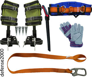 Tree Climbing Spike Set Safety Belt With 10 Pruning Saw Lanyard Gloves
