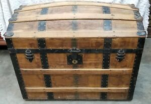 Antique Domed Top Victorian Brides Trunk Chest Newspaper Spanish American War