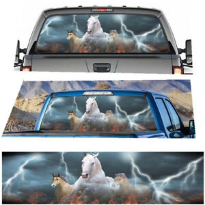 White Running Horse Steed Decal Sticker For Truck Jeep Suv Pickup Rear Window