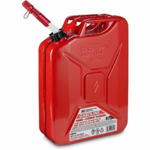 Metal Jerry Gas Can Holds 5 Gallons Of Gas Spill Proof Spout Pack Of 4 Red 38lbs