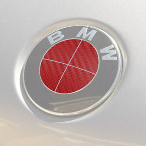 Bmw Emblem Logo Overlay Decal Roundels For 3 25 Emblems red Carbon Fiber