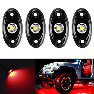 Red Led Rock Light 4 Pods Lights For Off Road Truck Car Atv Suv Under Wheel 4x4