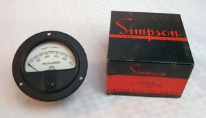 nos Simpson Panel Meter In Orig Box Model 26 Round Bezel 500ma Dc