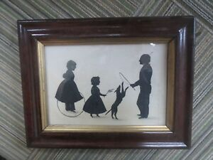 19th C Antique English Hollow Cut Full Silhouette Family