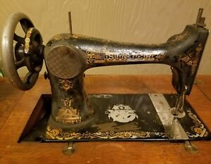 1896 Singer Treadle Sewing Machine With Base Stand And Cabinet Model 27 Works