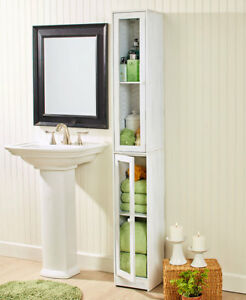 Slim Rustic Country Cabinet White