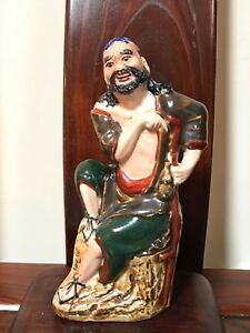 Rare Chinese Antique Mudman Clay Figurine Famous Immortal Stamp Seal Ex