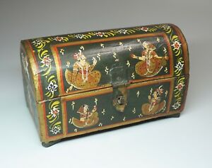 Vtg Hand Painted Wood Box Domed Lid E Indian Motif Jewelry Trinket Casket Rustic