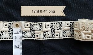 A11 Antique Lace French Doll Insertion Trim Designers Sewing Costumes 1 Yard