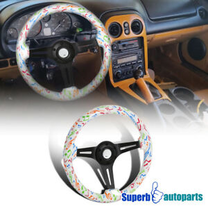 Universal 2 Rainbow Music Notes 350mm Sport Racing Wooden Steering Wheel 1pc