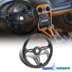 Universal 2 Shiny Black Gold 350mm Sport Racing Wooden Steering Wheel 1pc