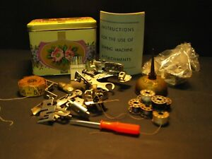 25pc Rare Singer Tin Box Sewing Notions Machine Attachments Oil Can Tape Needles