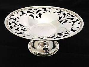 Rare Antique Unger Brothers Sterling Silver Pierced Footed Candy Nut Dish Bowl