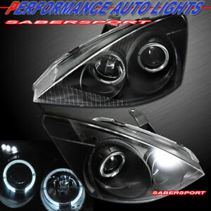 Set Of Pair Black Projector Headlights W Halo Rims For 2000 2004 Ford Focus